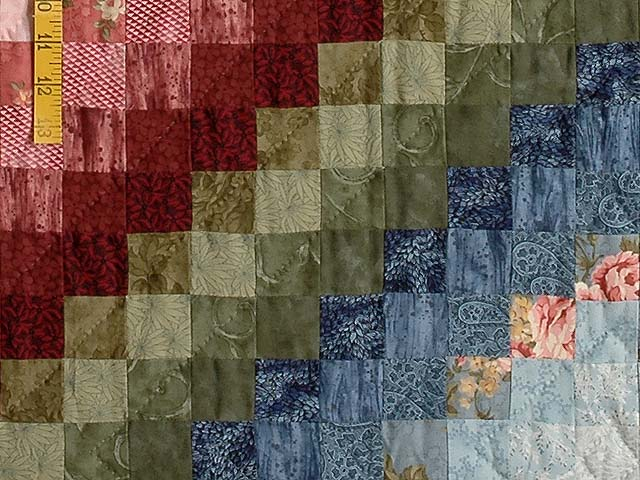 Blue Green Rose and Tan Color Splash Quilt Photo 6