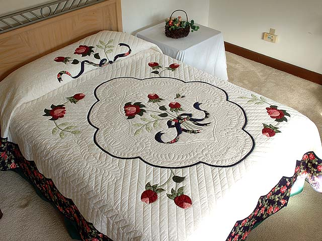 Navy Rose and Moss Lancaster Treasures Quilt Photo 1