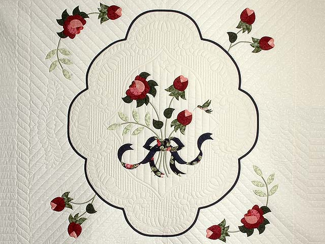 Navy Rose and Moss Lancaster Treasures Quilt Photo 3