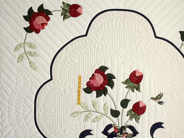 Navy Rose and Moss Lancaster Treasures Quilt Photo 4