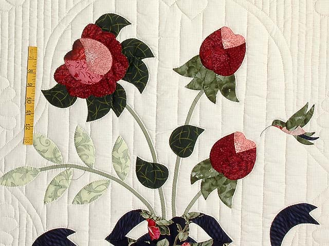Navy Rose and Moss Lancaster Treasures Quilt Photo 5