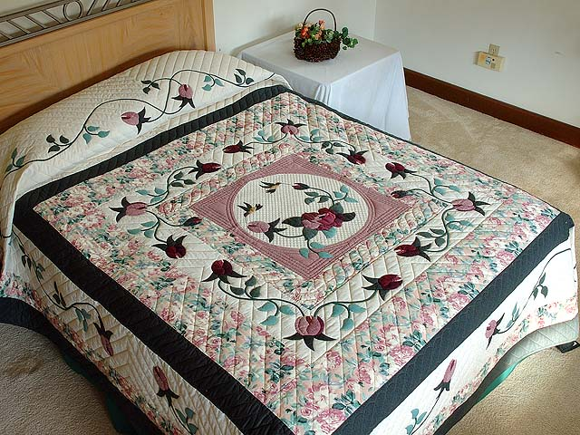 Dark Green and Plum I Promised You a Rose Garden Quilt Photo 1