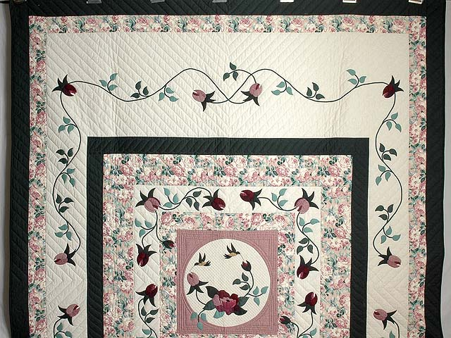 Dark Green and Plum I Promised You a Rose Garden Quilt Photo 2