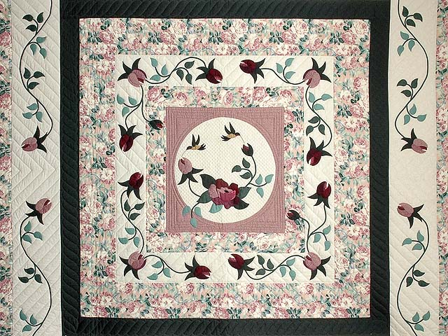 Dark Green and Plum I Promised You a Rose Garden Quilt Photo 3