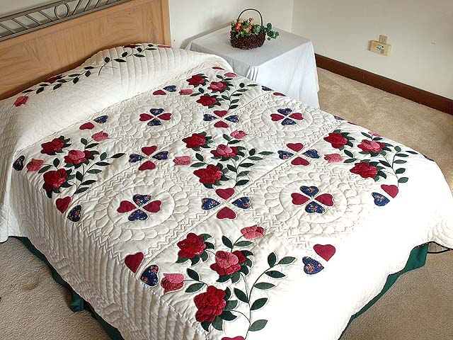 Burgundy and Green Spring Roses Quilt Photo 1