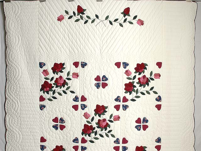 Burgundy and Green Spring Roses Quilt Photo 2