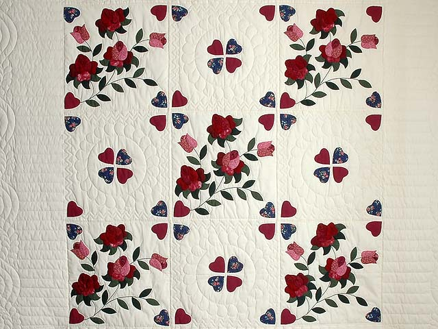 Burgundy and Green Spring Roses Quilt Photo 3
