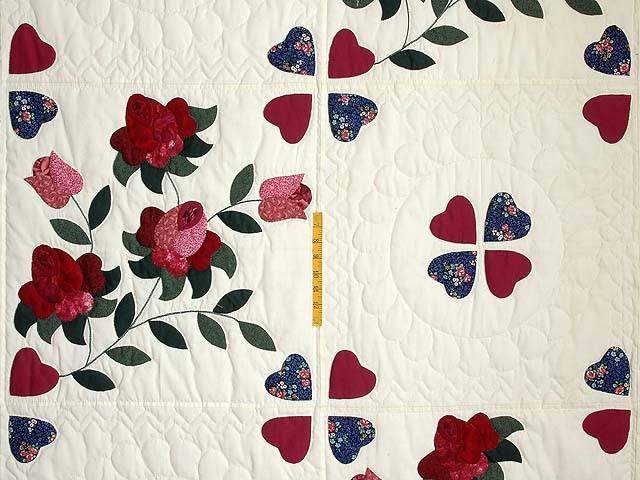 Burgundy and Green Spring Roses Quilt Photo 4