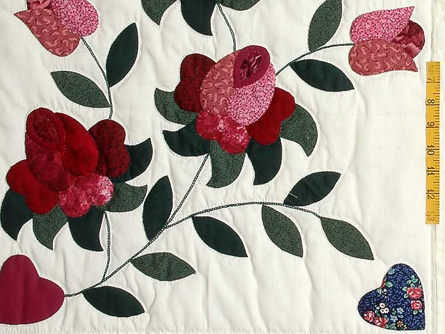 Burgundy and Green Spring Roses Quilt Photo 5