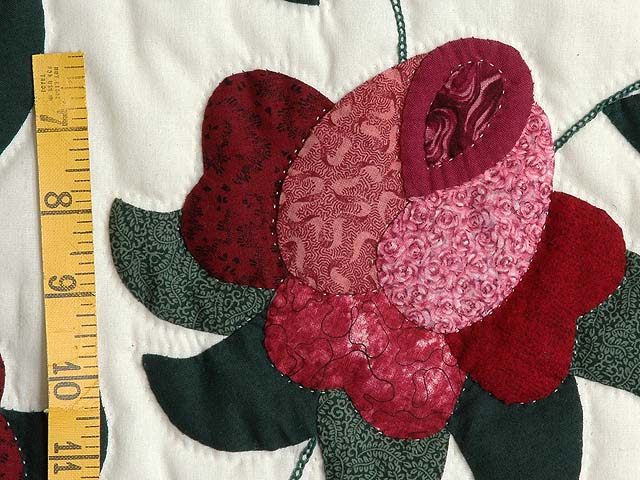 Burgundy and Green Spring Roses Quilt Photo 6