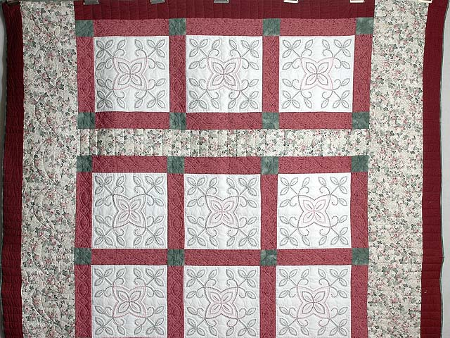Rose and Green Antique Cross Stitch Quilt Photo 2