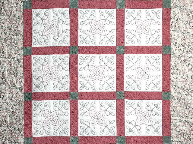 Rose and Green Antique Cross Stitch Quilt Photo 3