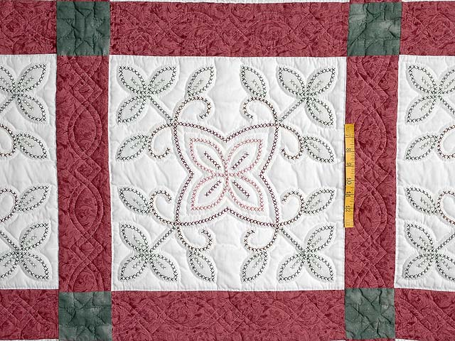 Rose and Green Antique Cross Stitch Quilt Photo 4