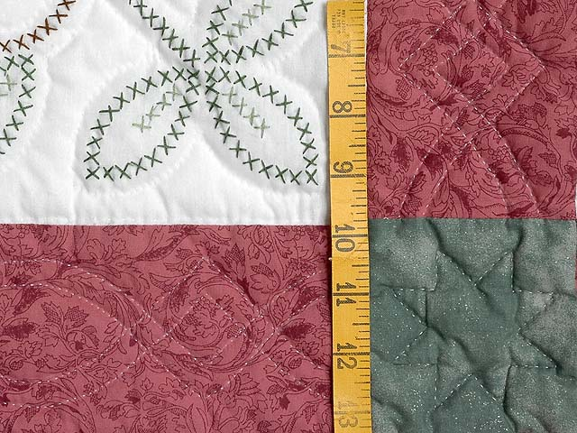 Rose and Green Antique Cross Stitch Quilt Photo 6
