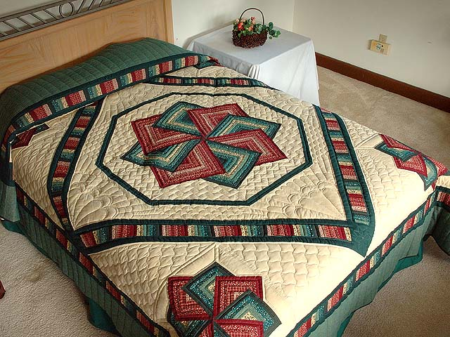 Green and Burgundy Star Spin Quilt Photo 1
