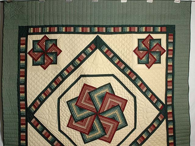 Green and Burgundy Star Spin Quilt Photo 2