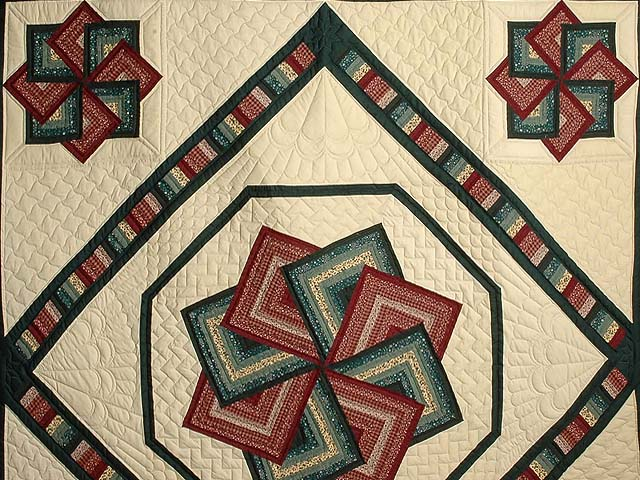 Green and Burgundy Star Spin Quilt Photo 3