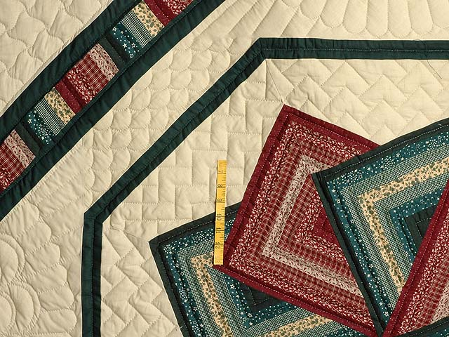 Green and Burgundy Star Spin Quilt Photo 4