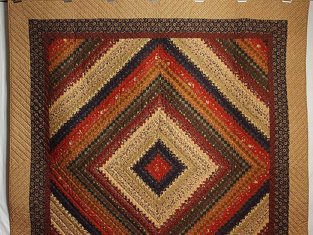 Wheat Burgundy and Moss Postage Stamp Color Splash Quilt Photo 2