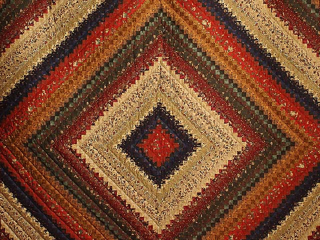 Wheat Burgundy and Moss Postage Stamp Color Splash Quilt Photo 3