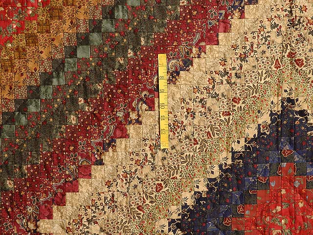 Wheat Burgundy and Moss Postage Stamp Color Splash Quilt Photo 4