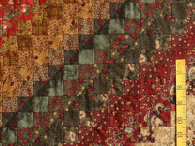 Wheat Burgundy and Moss Postage Stamp Color Splash Quilt Photo 6