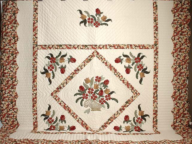 King Brick Red Green and Golden Tan Spring Basket Quilt Photo 2