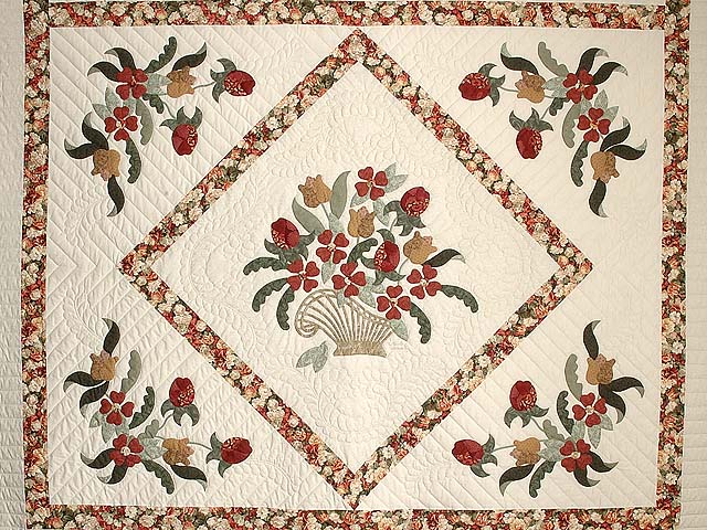 King Brick Red Green and Golden Tan Spring Basket Quilt Photo 3