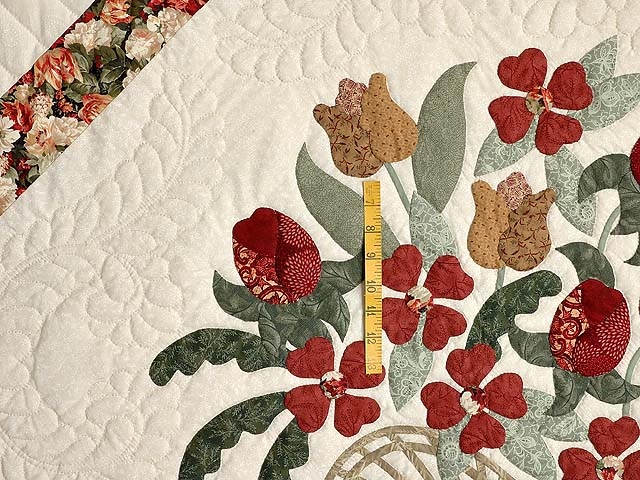 King Brick Red Green and Golden Tan Spring Basket Quilt Photo 4