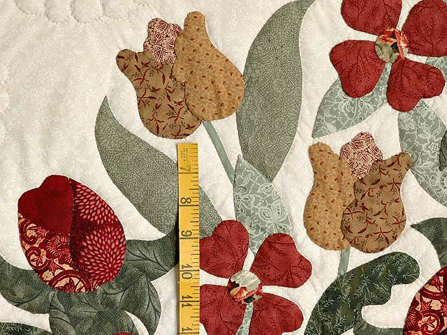King Brick Red Green and Golden Tan Spring Basket Quilt Photo 5