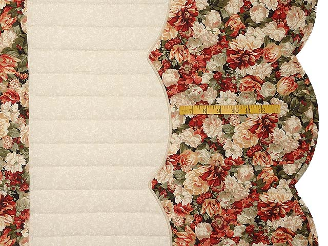 King Brick Red Green and Golden Tan Spring Basket Quilt Photo 7