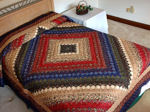 Navy Burgundy Gold and Green Color Splash Quilt Photo 1