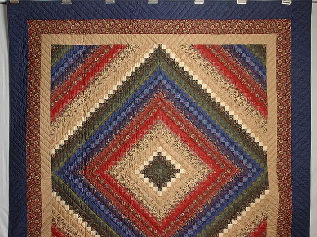 Navy Burgundy Gold and Green Color Splash Quilt Photo 2