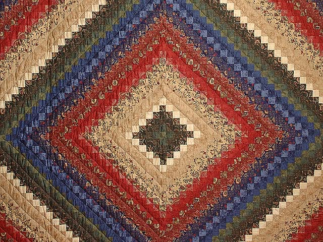 Navy Burgundy Gold and Green Color Splash Quilt Photo 3