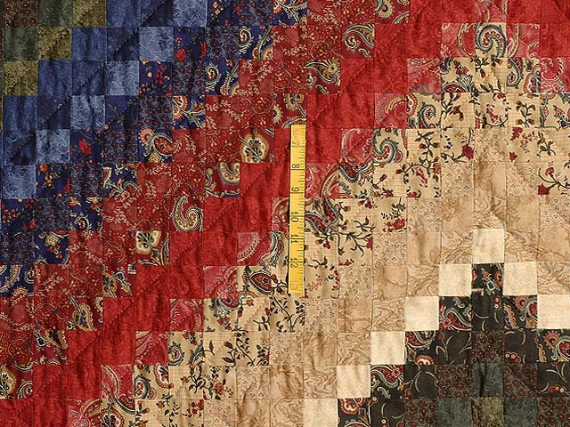 Navy Burgundy Gold and Green Color Splash Quilt Photo 4