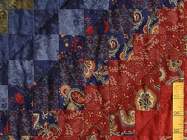 Navy Burgundy Gold and Green Color Splash Quilt Photo 6