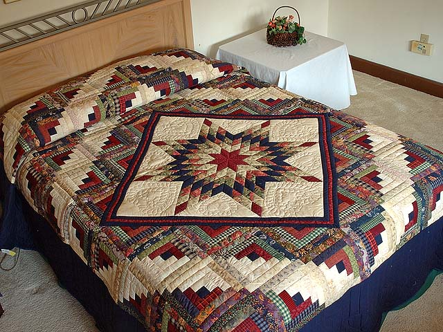 Navy Wheat and Multi Lone Star Log Cabin Quilt Photo 1
