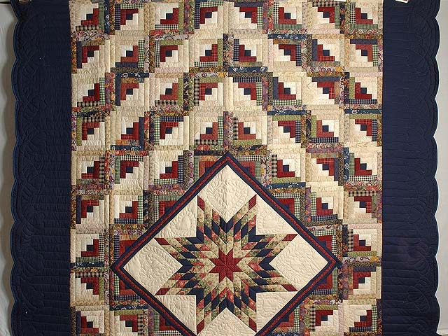 Navy Wheat and Multi Lone Star Log Cabin Quilt Photo 2
