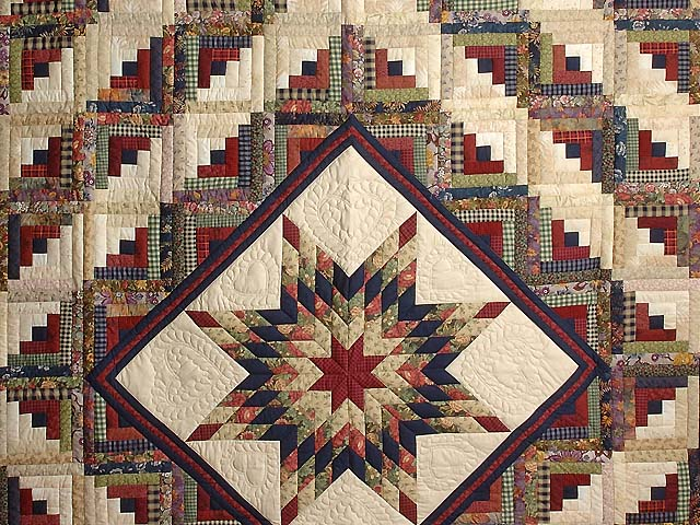 Navy Wheat and Multi Lone Star Log Cabin Quilt Photo 3
