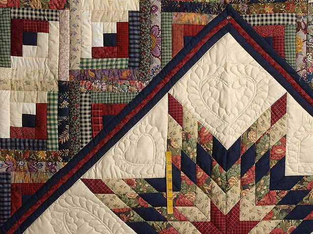 Navy Wheat and Multi Lone Star Log Cabin Quilt Photo 4