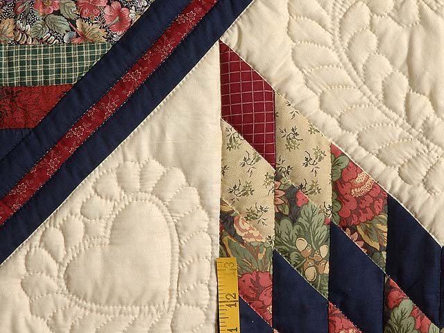 Navy Wheat and Multi Lone Star Log Cabin Quilt Photo 5