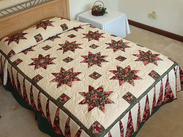 Burgundy Rose and Green Dahlia Star Quilt with Cones Photo 1