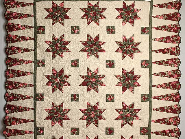 Burgundy Rose and Green Dahlia Star Quilt with Cones Photo 2