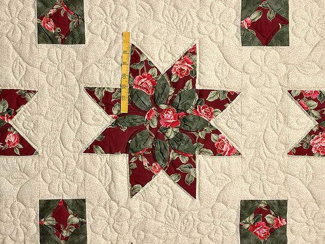 Burgundy Rose and Green Dahlia Star Quilt with Cones Photo 4