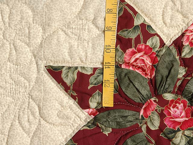 Burgundy Rose and Green Dahlia Star Quilt with Cones Photo 5