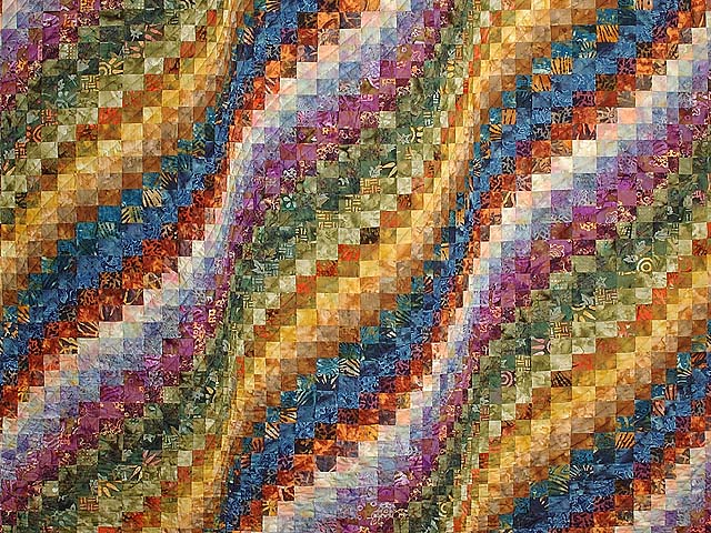 King Hand Painted Bargello Wave Quilt Photo 3