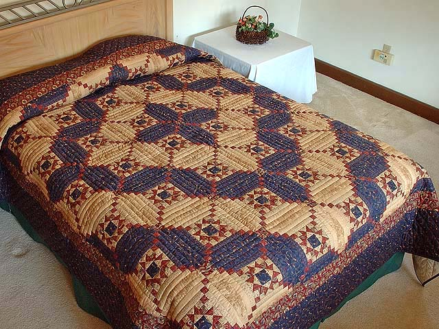 Navy Burgundy and Tan Stars in the Cabin Quilt Photo 1