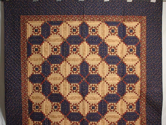 Navy Burgundy and Tan Stars in the Cabin Quilt Photo 2