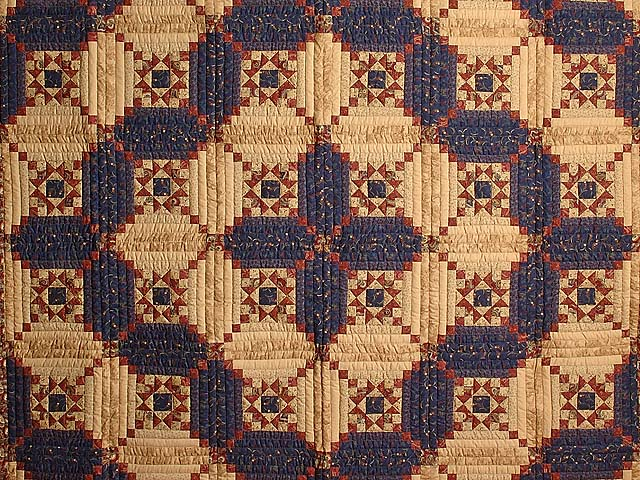 Navy Burgundy and Tan Stars in the Cabin Quilt Photo 3