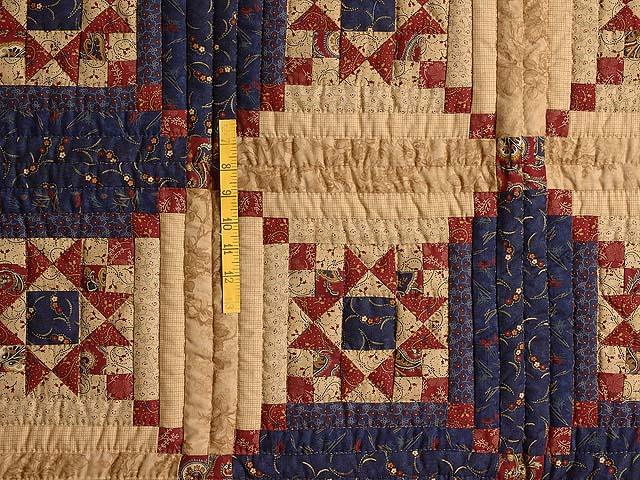 Navy Burgundy and Tan Stars in the Cabin Quilt Photo 4